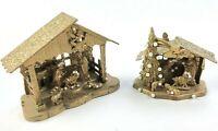 Vintage Miniature Nativity Manger Hong Kong Diorama Gold Embellished Lot UNIQUE