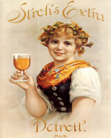 POSTER STROH'S EXTRA BEER DETROIT GIRL HOLDING GLASS VINTAGE REPRO FREE S/H