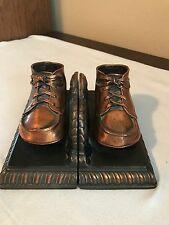 Vintage Bronzed Copper Baby Shoes Book Ends Nursery- Office- Decor