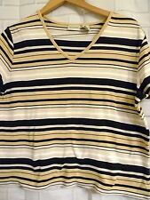Womens Crossroads Size XL Beige Navy Striped Knit STRETCH Pullover Top V Neck