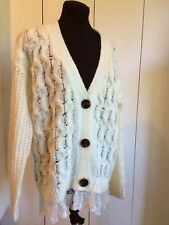 POL Ivory Cable Sweater Cardigan with Lace Hem Size Small