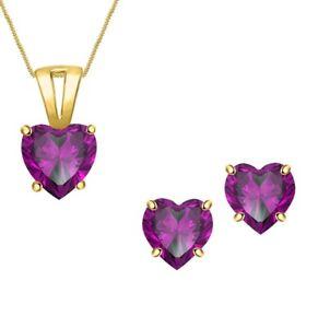 Heart Shape Amethyst Solitaire Necklace Pendant Valentine Set 14k Gold Over