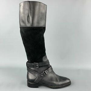 JOAN & DAVID Size 6.5 Black Two Toned Suede Riding Boots
