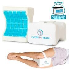 Posture Pro Health Memory Foam Orthopedic Knee Pillow w Cooling Gel White