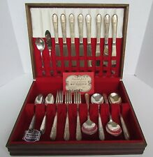 W.M. Rogers 34 Pcs Flatware Silverplated In Shine-Brite Anti-Tarnish Chest Vntg
