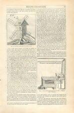 Moulin à vent du XVIe siècle moulin à bras paire de meules animaux GRAVURE 1852