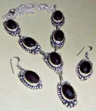 ARTISAN HANDCRAFTED BLACK FACETED ONYX  925 SILVER NECKLACE & EARRINGS SET