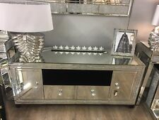 Large Mirrored Glass Sparkly Crushed Crystal Diamond Glitz TV Cabinet Stand Unit