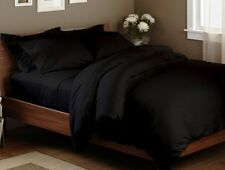 800 THREAD COUNT QUEEN SIZE BLACK SOLID BED SHEET SET 100% EGYPTIAN COTTON