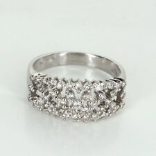 Lattice Diamond Cocktail Band Ring Vintage 14k White Gold Estate Fine Jewelry 7