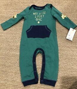 "NEW Cat & Jack Boys Green One Piece 3-6M St Patricks Day ""WEE LITTLE LUCKY ONE"""
