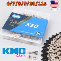 "KMC 1/2X3/32"" 11/128"" 116/118Links Chain 6/7/8/9/10/11Speed MTB Bike Cassette"