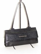 COLE HAAN Vintage Black Alligator Embossed Baguette Handbag