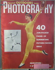 July, 1955 Popular Photography - Special Outdoors Issue with Baseball Cover