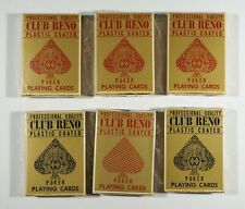 Lot of Six Sealed Unused Vintage Decks of Playing Cards from the Reno Casino