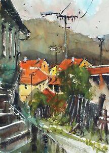 Landscape Painting Watercolor Original Bohemia Countryside Cesky Krumlov 15x11