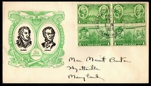 1936 US #785 & 790 Army-Navy Issue (1 pair of each) on Cacheted Addressed FDC