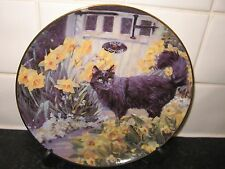BLACK CAT    PLATE - SPRING IS IN THE AIR    -  COTTAGE GARDEN CATS