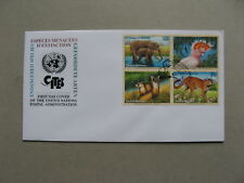 UNO UNITED NATIONS NY, cover FDC 1997, block of 4  elephant cat cougar cockatoo