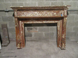 ~ ANTIQUE CARVED CHERRY WOOD FIREPLACE MANTEL ~ 64 X 50 42 OPENING ~ SALVAGE