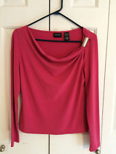 New York & Company Women's Pink Cowl Neck Long Sleeve Blouse Silver Accent Small