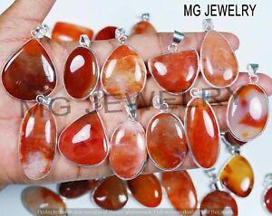 10 Pcs Lot Natural Carnelian Gemstone 925 Silver Plated Bezel Pendants MFA35