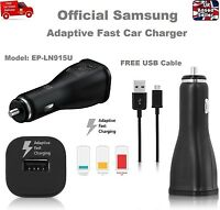 Genuine SAMSUNG Fast 2A Car Charger For Galaxy S7 S6 Edge NOTE 4 5 + USB Cable