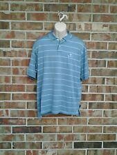 Men's Adidas Golf ClimaLite Mercerized Doral Polo Golf Shirt Blue/White Striped