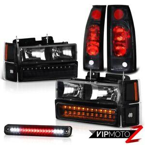 For 94-98 Chevy Silverado K1500 K2500 K3500 Black LED Brake Tail Lamp Headlight