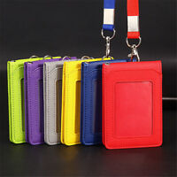 Leather Pocket Credit ID Card Badge Tag Holder Pass Case with Neck Strap Lanyard