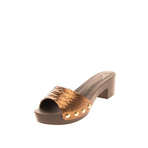RRP €630 GIUSEPPE ZANOTTI Leather Clog Sandals Size 37 UK 4 US 7 Made in Italy