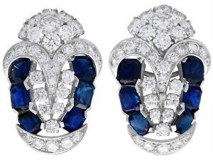 3.78ct Sapphire and 4.21ct Diamond, Platinum Earrings - Art Deco - Vintage 1940s