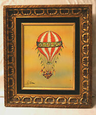 Collectible Mid Century Small Work Hot Air Ballon on Canvas by Leneman,
