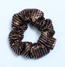 VINTAGE 60s STYLE BLACK GOLD TONE GLITZ PARTY FAB HANDMADE SCRUNCHIES LARGE E472