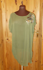 MONSOON olive green chiffon short sleeve tunic top kaftan sequins M 12-14 40-42