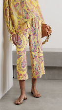 New Etro Yellow Paisley Print Silk Georgette Cropped Trousers IT 44 (UK 12)