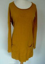 Ladies Jumper Dress Plus Size XL Mustard Pockets Smart Casual Weekend Office