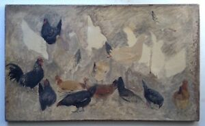 19th Century French Oil Impressionist painting Roosters and Hens study Monogram