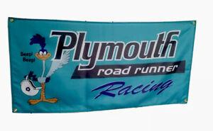 Plymouth Roadrunner Racing Flag Banner Sign garage mancave hotrod mopar 3x5 Ft