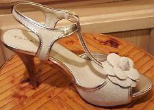 Tahari Stacey Linen Canvas Open-toe T-Strap w/Platinum Leather Heel Shoe 8M $169
