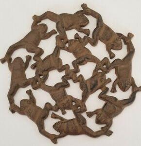 "Cast Iron 12 Frogs Together Trivet Black-Brown 11.25"" Diameter"