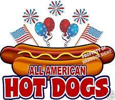 "All American Hot Dogs 24"" Decal Concession Food Truck Hotdog Cart Vinyl Sticker"
