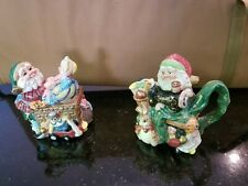 Fitz and Floyd 1996 Christmas Elf Creamer and Jam/Sugar Containers