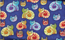 "RARE! EXOTIC CATS ON BLUE - BTFQ -18""X22"""