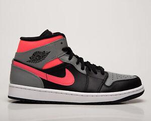 Air Jordan 1 Mid Pink Shadow Men's Black Grey Casual Lifestyle Sneakers Shoes