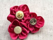 Cerise/pink ribbon fabric flower brooch pin corsage handmade fashion for  coat