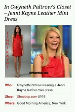 BNWOT Authentic Jenni Kayne red mini leather shift dress rrp US $995