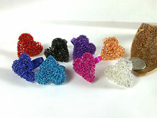 Ring Band Heart Shaped Wire Wrap Adjustable Alloy New Various Colours