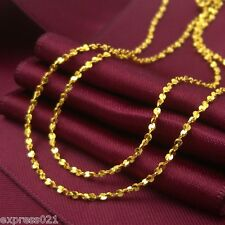 Authentic 999 Solid 24K Yellow Gold Necklace / Unique Link Chain Necklace