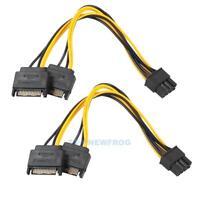2x Dual SATA Kabel 15Pin auf 8Pin PCI Express Stromkabel Grafikkarten Adapter